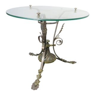 Arts & Crafts Iron Brass & Glass Side Table For Sale