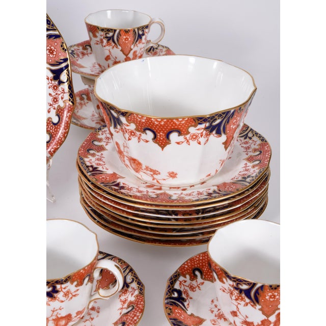 Blue Antique English Royal Crown Derby Porcelain Luncheon Set - 27 Pc. Set For Sale - Image 8 of 13