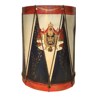 Italian Metal Drum With Family Crest For Sale