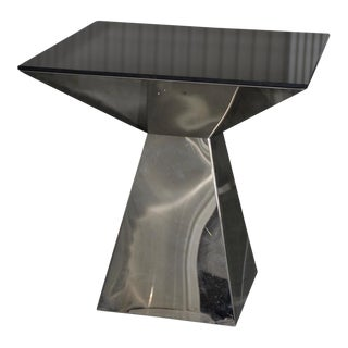 1970s Geometric Chrome & Smokey Glass Top Side Table For Sale
