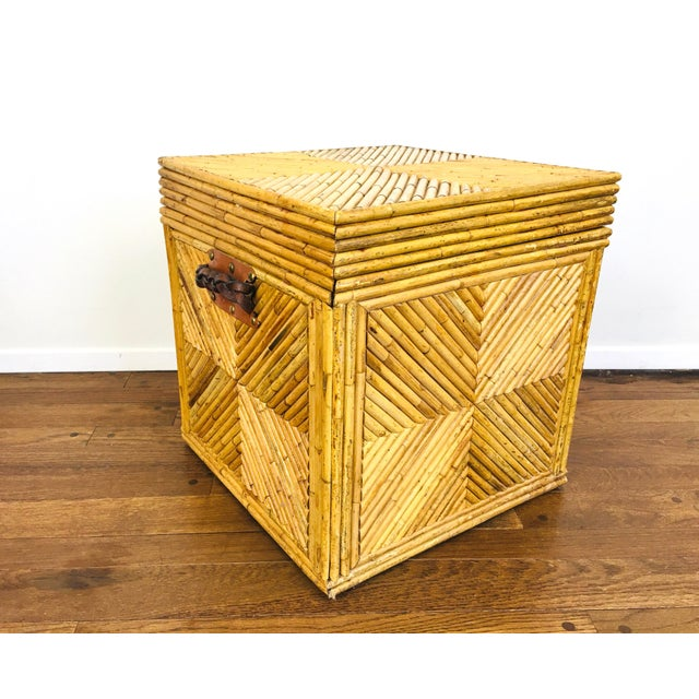 Vintage Natural Pencil Reed Rattan Gabriella Crespi Style Trunk Chest Table For Sale - Image 9 of 9