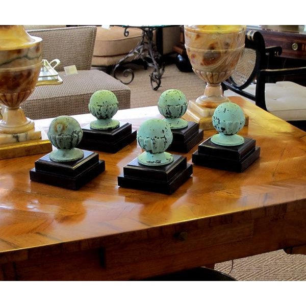 A Set of 5 American Classical-Revival Verdigris Bronze Finials For Sale - Image 4 of 6