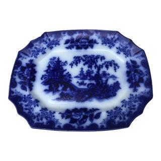19th Century Flow Blue Transferware Large Platter. Asian Shanghai Pattern For Sale