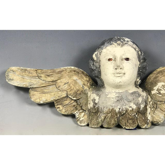 Handcarved Wood Winged Cherub For Sale In New York - Image 6 of 8