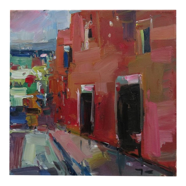 """Jose Trujillo 14"""" Square Oil Painting Red House Village Street New Art For Sale"""