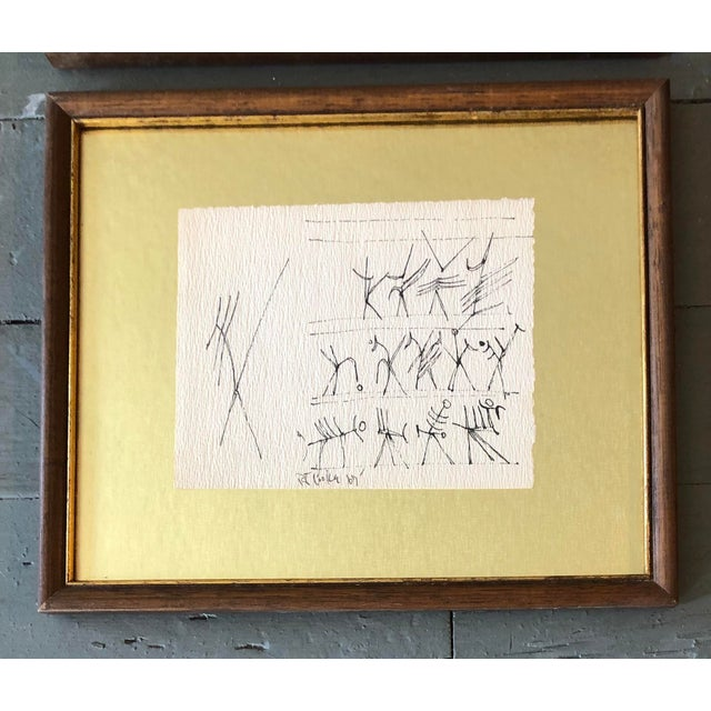 2 Original 1960's Ink Drawings on uneven paper Signed & dated 67 floated on gold mat board Approx 5 x 6 Overall size with...