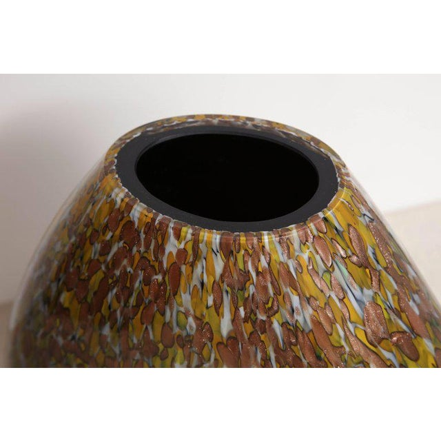 Signed Crepax Murano Glass Vase in Olive and Copper Metallic For Sale - Image 4 of 6