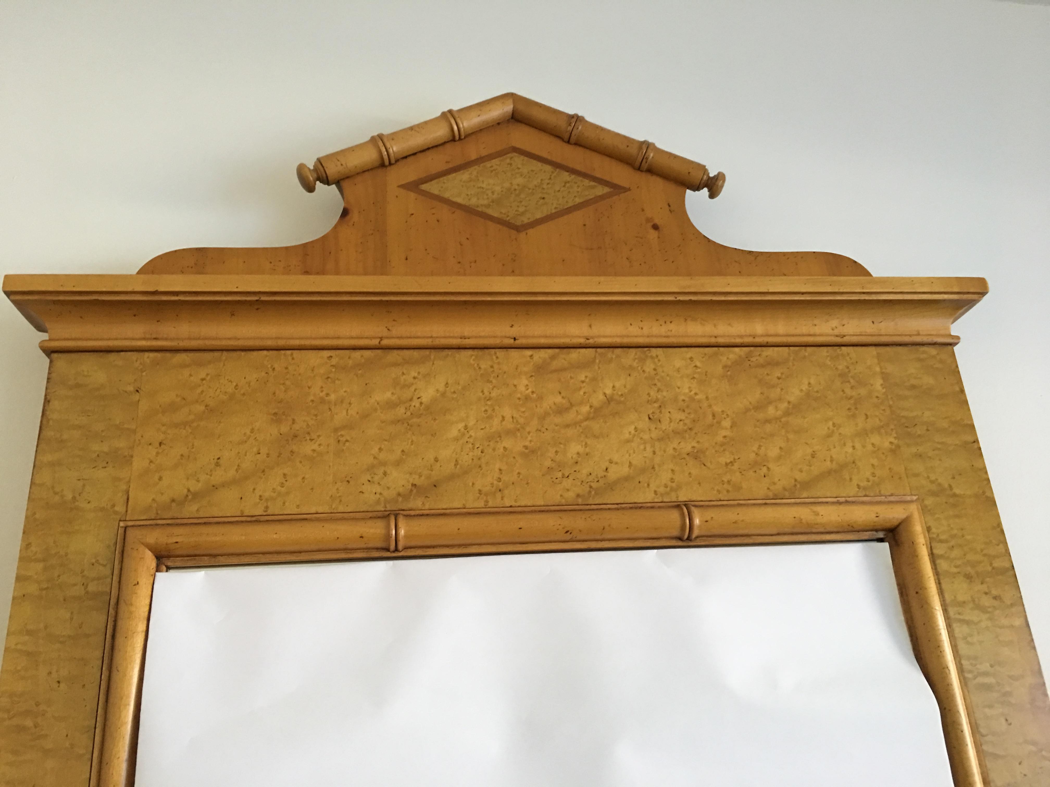 Baker Mid Century Modern Federalist Birdseye Maple Wall Mirror   Image 5 Of  8