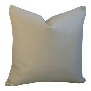 "Genuine Italian Sandy Putty Colored Soft Leather Feather/Down Pillow 20"" Square"