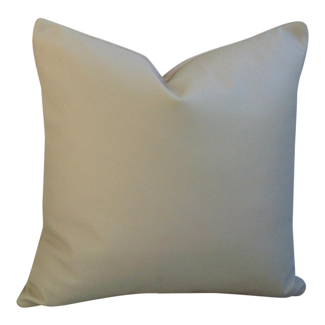 "Genuine Italian Sandy Putty Colored Soft Leather Feather/Down Pillow 20"" Square For Sale"