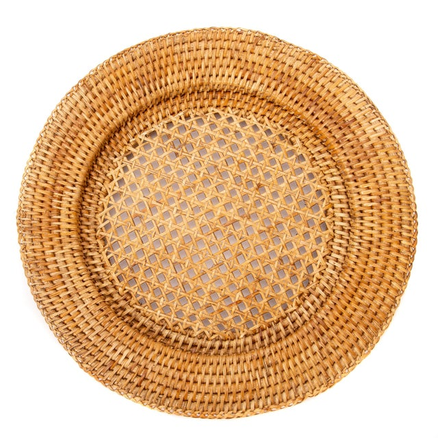 """2010s Artifacts Rattan 13"""" Open Weave Charger For Sale - Image 5 of 5"""