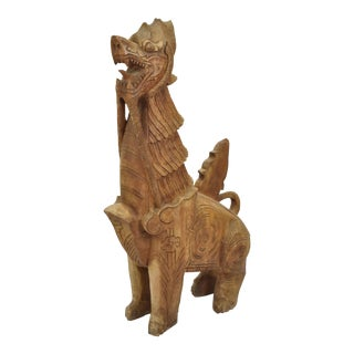 Large Carved Wood Chinese Dragon Sculpture