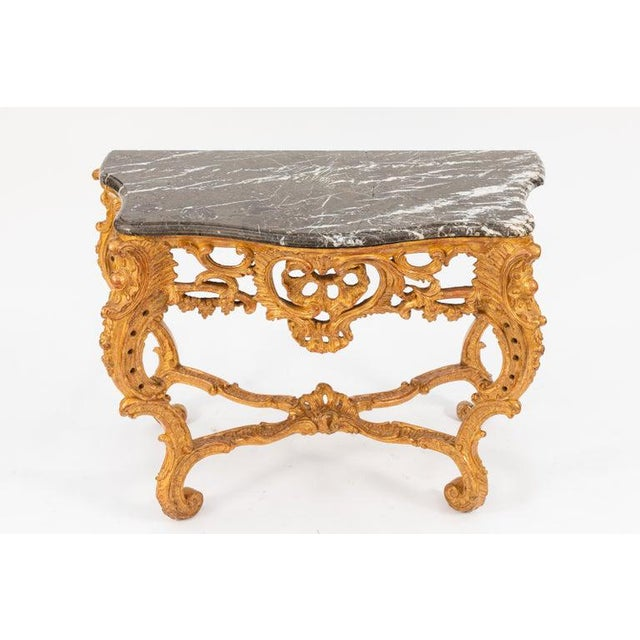 19th Century French Giltwood Consoles With Marble Tops - a Pair For Sale - Image 9 of 10