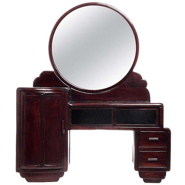 Art Deco Rosewood Mirrored Makeup Table with Sliding Glass from China, 1940s For Sale - Image 4 of 4