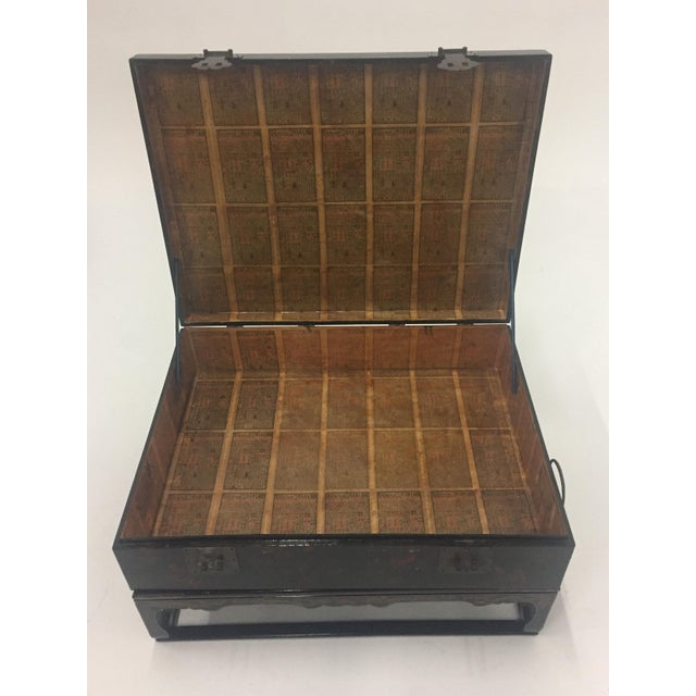 Asian Black Laquer Box on Custom Stand Coffee Table For Sale - Image 4 of 13