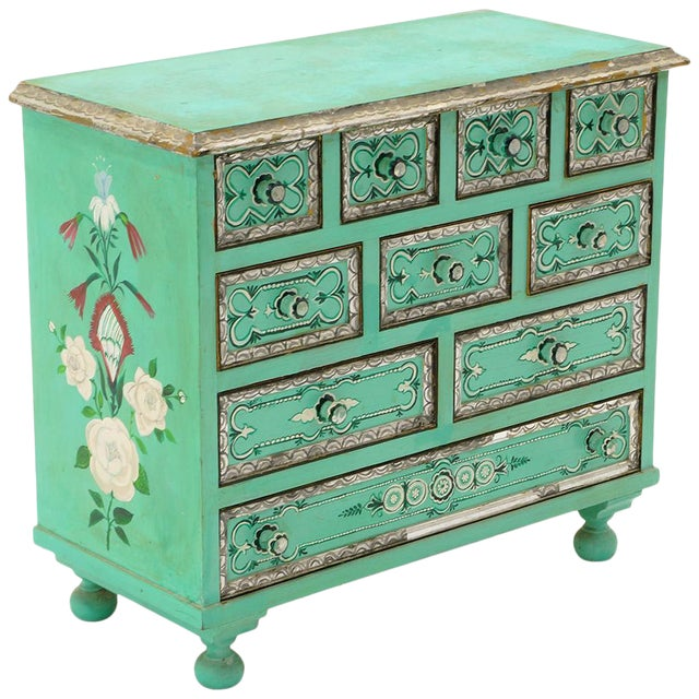 Salvador Corona Hand Painted Cabinet, Mexico / Tucson, 1940s, Signed For Sale