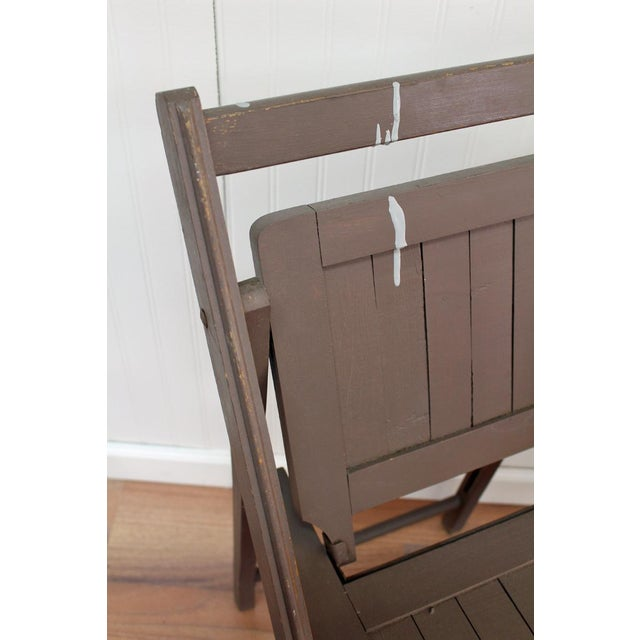 Antique Dark Taupe Painted Folding Chairs - Pair - Image 7 of 8