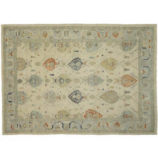 "Contemporary Turkish Oushak Large Area Rug - 10'10"" X 15'00"" For Sale"