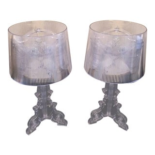 Late 20th Century Transparent Crystal Kartell Bourgie Lamps - a Pair