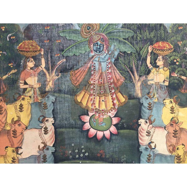 Orange Large Colorful Pichhavai Silk Asian Painting With Krishna and Female Gopis For Sale - Image 8 of 11