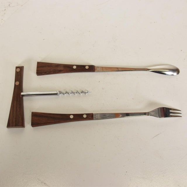 Metal Mid-Century Modern Rosewood Stainless Steel Bar Set Accessories - 3 Pc. Set For Sale - Image 7 of 11