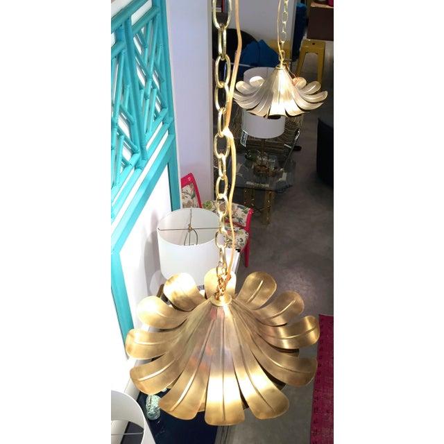 "Pair of Feldman Brass ""Lotus"" Pendant Chandeliers - Image 4 of 6"