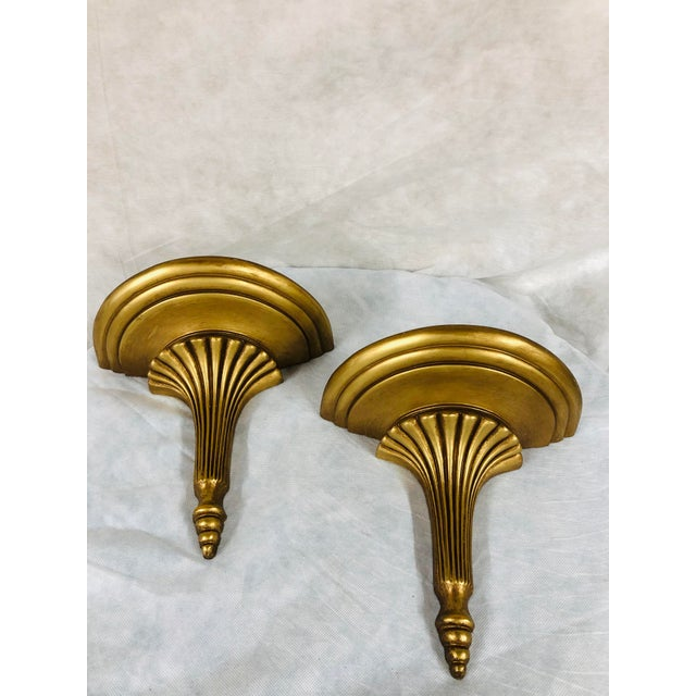 Mid Century English Gilded Wall Brackets - a Pair For Sale - Image 11 of 11