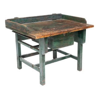 19th Century Rustic Distressed Industrial Work Bench For Sale