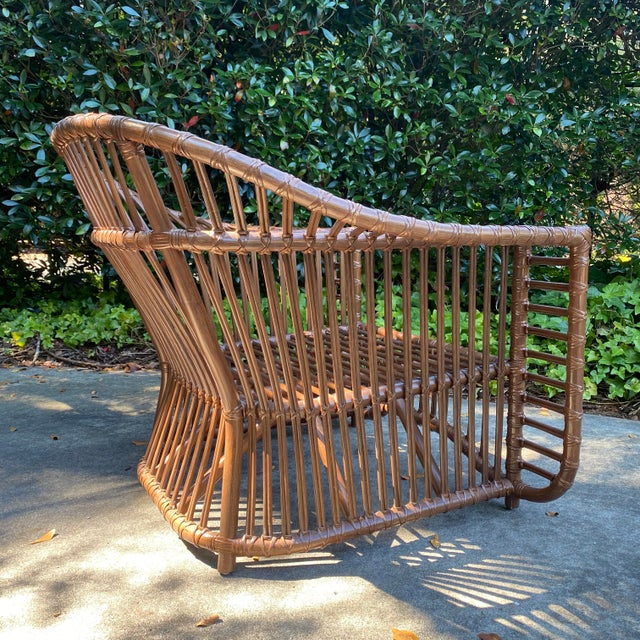 Wood Henry Olko Style Rattan Club Chair For Sale - Image 7 of 10