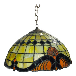 Tiffany Lead and Stained Glass Colorful Lamp Shade With Glass Globe For Sale