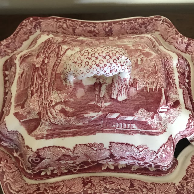 Masons Vista England Red Transferware Ironstone Tureen With Ladle and Underplate For Sale - Image 12 of 13