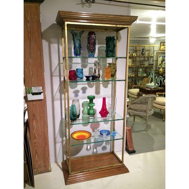 Vintage Midcentury Custom Oak Gilt Steel Metal Shelf Etagere Display Case For Sale - Image 10 of 11