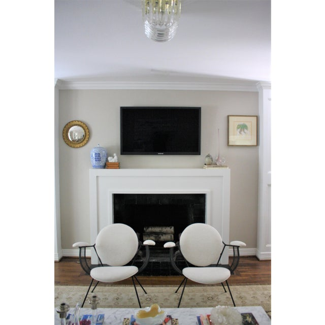 This fabulous, comfy pair of Mid-Century Modern wrought iron armchairs are made in the style of Mathieu Matégot and...