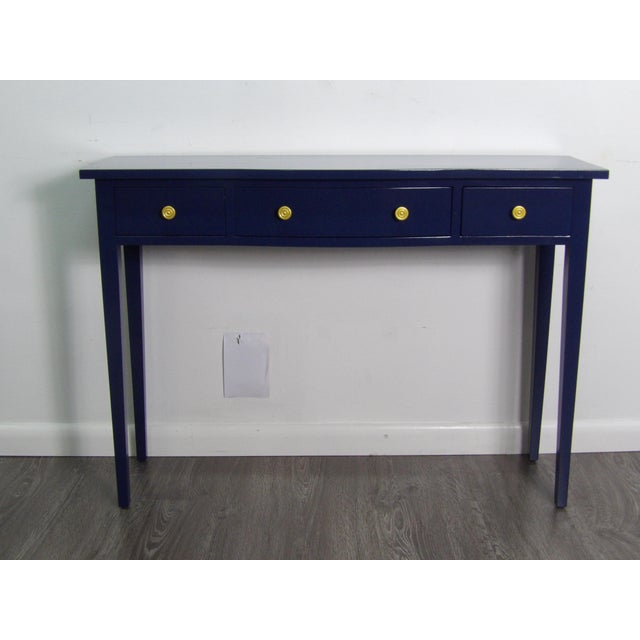 Transitional Navy Console With Three Drawers For Sale In West Palm - Image 6 of 6