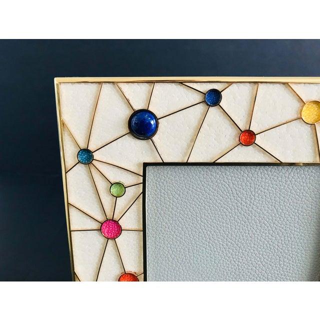 Fabio Ltd Shagreen With Multi-Color Stones Photo Frame by Fabio Ltd For Sale - Image 4 of 9