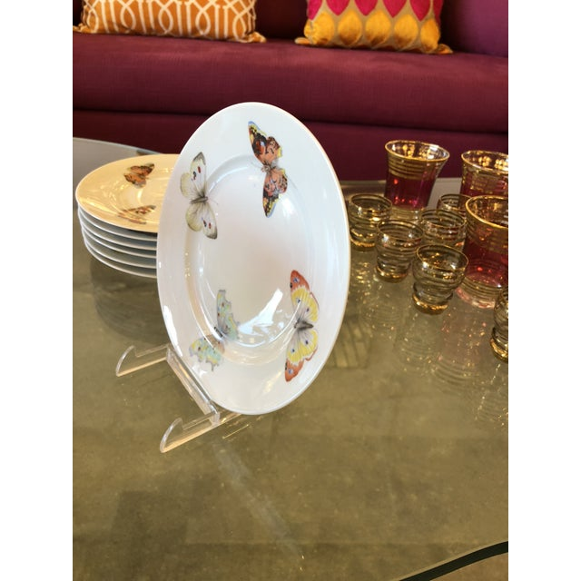 "S/7 Mid Century Modern L. Bernardaud Porcelain ""Butterfly"" Pattern Small Plates - Image 7 of 8"