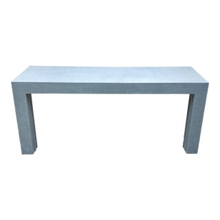 Parsons Style Grasscloth Console Table-Pair Available For Sale