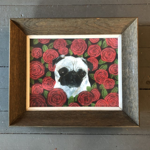 2010s Contemporary Pug in Red Roses Dog Print by Judy Henn For Sale - Image 5 of 5