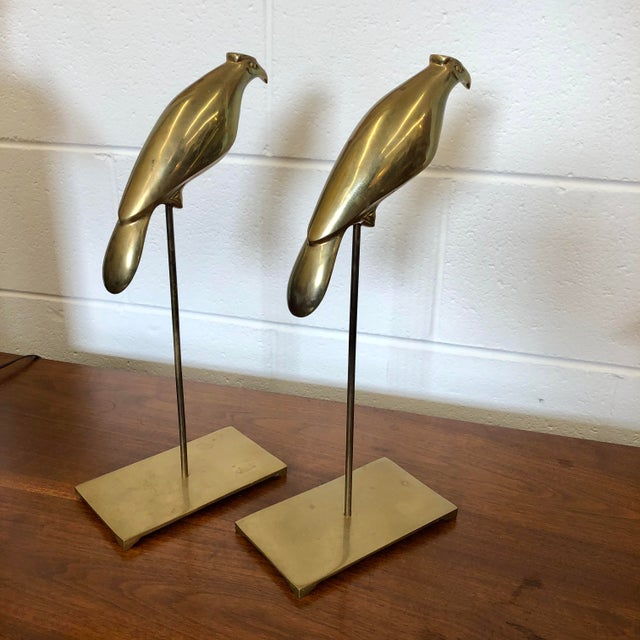 Vintage Brass Birds on Stands, a Pair For Sale - Image 4 of 8