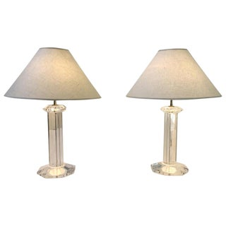 Signed Karl Springer Lucite and Brass Table Lamps - a Pair For Sale