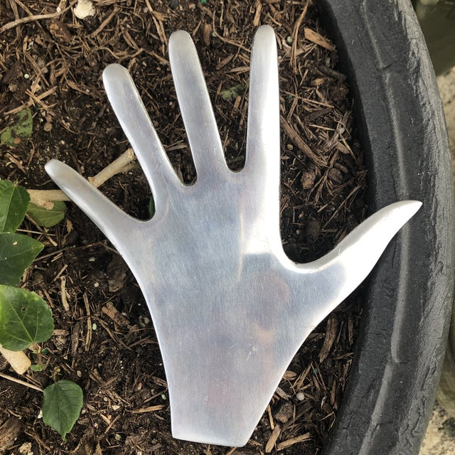 Contemporary Vintage Cast Aluminum Human Hand Hot Pad Trivet For Sale - Image 3 of 9