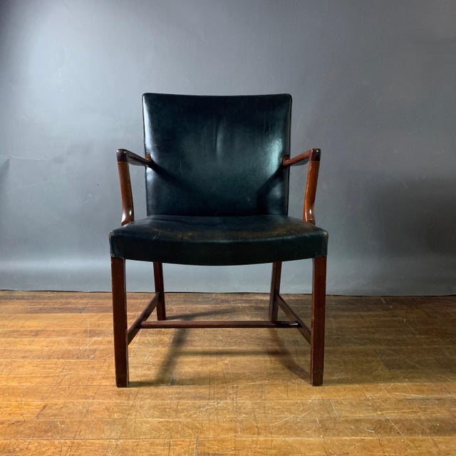 Wood Jacob Kjær 1940s Leather and Mahogany Armchair, Denmark For Sale - Image 7 of 10