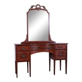 Early Widdicomb Hepplewhite Style Inlaid Mahogany Vanity Dresser With Mirror For Sale