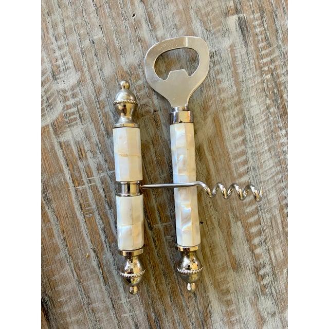 White Vintage Mother of Pearl Corkscrew Wine & Bottle Opener Set For Sale - Image 8 of 8