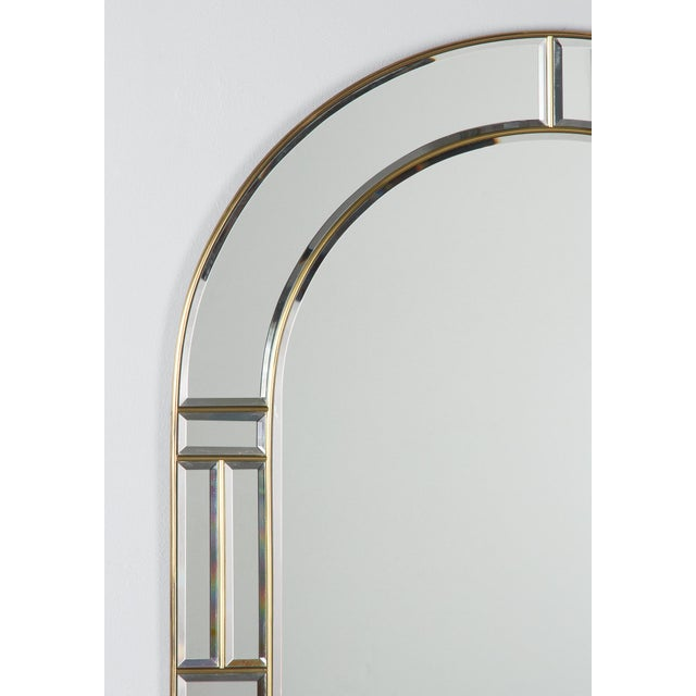 1970s Italian Beveled Glass Mirror With Brass Frame For Sale In Austin - Image 6 of 13