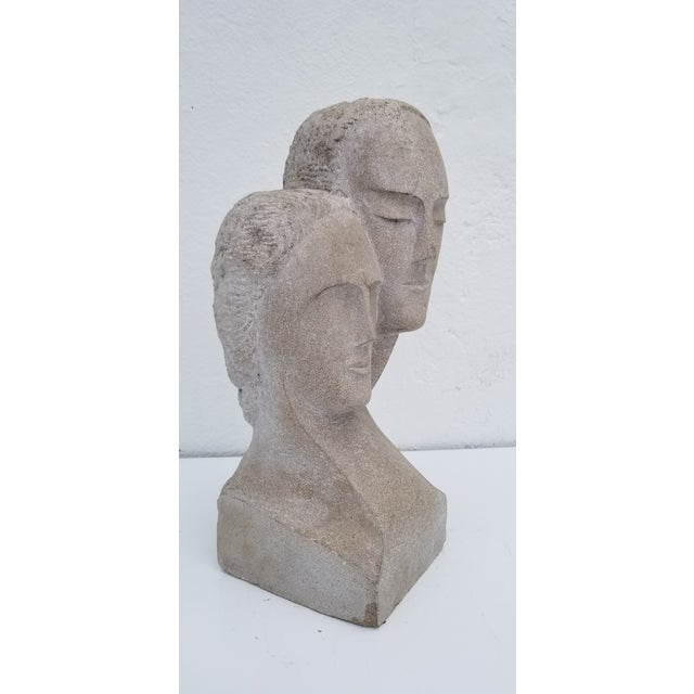 "1960s Vintage ""His and Hers "" Carved Stone Bust Sculpture For Sale - Image 10 of 12"