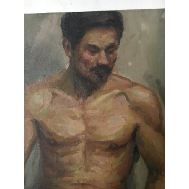 Fantastic old oil on canvas portrait painting of a male nude. Purchased in England the painting was painted in the 1920's...