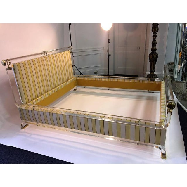 Charles Hollis Jones MAGNIFICENT CHARLES HOLLIS JONES LUCITE AND BRASS UPHOLSTERED BED For Sale - Image 4 of 10
