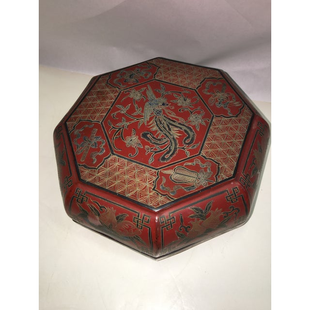 Asian Vintage Red Lacquer Chinese Octagonal Box For Sale - Image 3 of 6