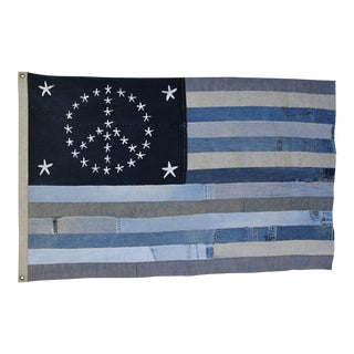 "Ralph Lauren Style Denim Patchwork American Peace Sign Flag Art Throw 58"" X 37"" For Sale"